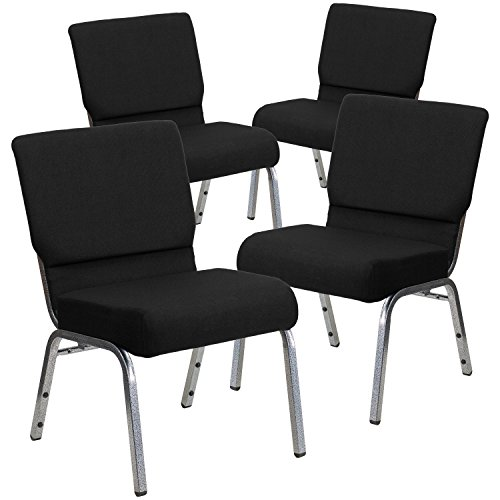 (Flash Furniture 4 Pk. HERCULES Series 21''W Stacking Church Chair in Black Fabric - Silver Vein)