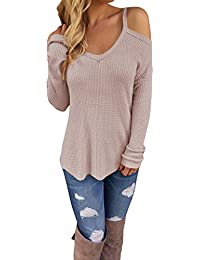 Women's Off Shoulder Loose Casual Knitted Sweater Top Blouse