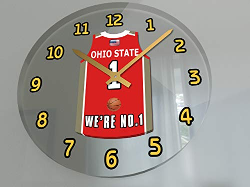 FanPlastic College Basketball USA - We're Number ONE College Hoops Wall Clocks - Support Your Team !!! (Ohio State Buckeyes)