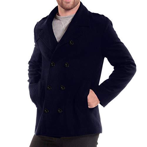 Winter Overcoat Uomo Inverno Long Soprabito Capispalla Trench Parka Niuqy Elegante Giacca Scuro Cappotto warm Cappotti Monopetto Lungo Blu n0Xw8OPk