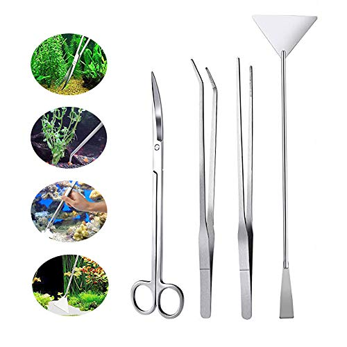 Huture Aquarium Tweezers Scissor Spatula Instruments Package four in 1 Lengthy Stainless Metal Fish Tank Aquatic Plant Tweezers Aquarium Tank Aquascaping Instruments Landscaping Cleansing Software Set Fish Starter Package