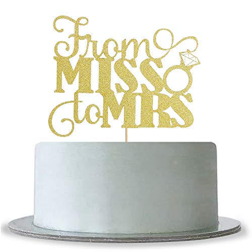 From MISS To MRS Cake Topper Gold Glitter Wedding Bridal Shower Engagement Decorations Supplies Wedding Anniversary Party Bridal Shower Cake Decorating