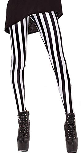 Sister Amy Women's High Waist Black and White Conrtrast Color Digital Printted Ankle Elastic Tights - Vertical Stripes Opaque