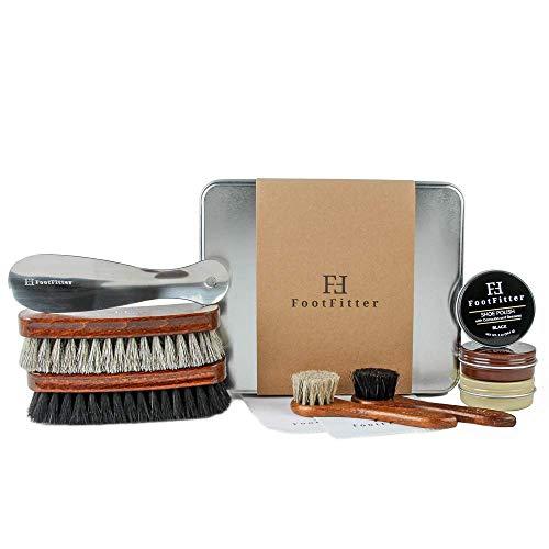 FootFitter Shoe Shine Valet Refill Set - 100% Horsehair Brushes, Shoe Polish, Shoe Horn, Microfiber Shine Cloths!