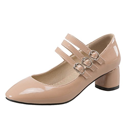 Mee Shoes Damen chunky heels Schnalle runde Pumps Aprikose