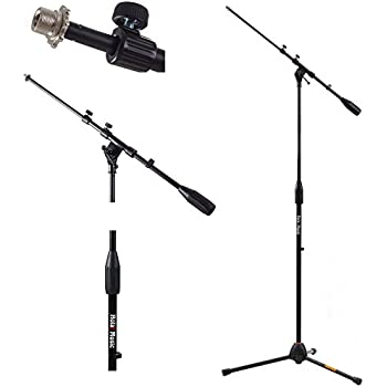 Hola! Music HPS-101TB Professional Tripod Microphone Mic Stand with Telescopic Boom, Black