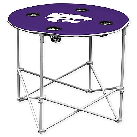G NCAA Kansas State University Collegiate Round Collapsible Table Handy Portable Pop-up Design