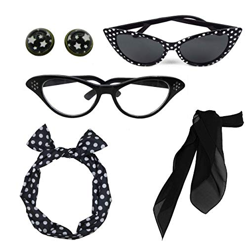 Retro 1950s Polka Dot Style Scarf Glasses Headband and Earrings Costume Accessories ()