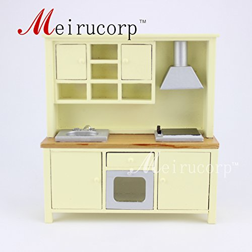 (Fine Dollhouse 1/12 Scale Miniature furniture beautiful Kitchen cabinet cooking bench)
