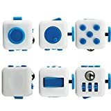 Fidget Cube Relieves Stress and Anxiety Attention Toy for Children and Adults (Blue-White)