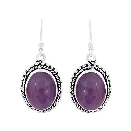 (Genuine Oval Shape Amethyst Boho Style Dangle Earrings 925 Silver Plated Handmade Oxidized Finish Jewelry For Women Girls)