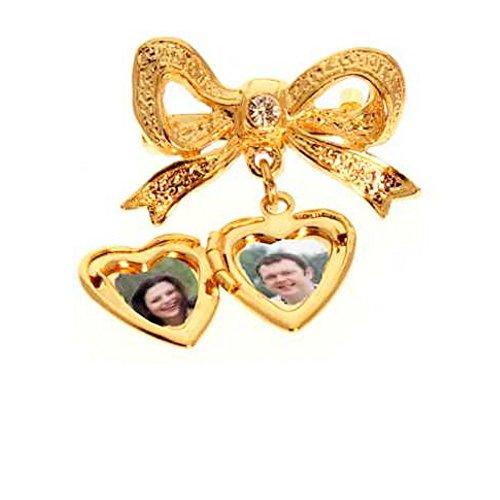 Mothers Family Photo Locket Heart Pin Gold - 2 Photo's