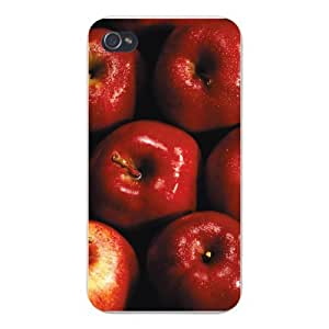 Apple Iphone Custom Case 5 5s White Plastic Snap on - Juicy Red Apples Fruit Closeup