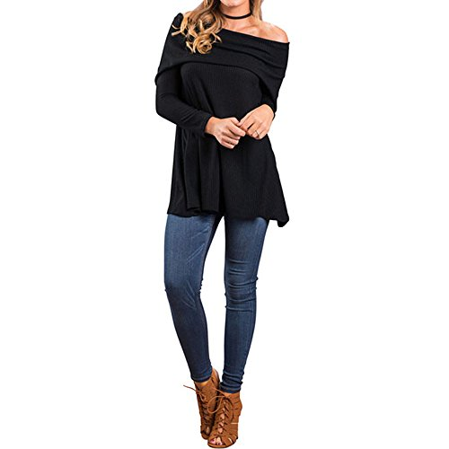 SEBOWEL Womens Off Shoulder Strapless Blouse Casual Loose Tops T-shirt