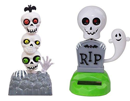 Set of 2 2018 NEW Solar Toy - 3 Skull + RIP Spooky Skeleton Ghost Tombstone Halloween Bobble Head Car Dash Home Decor US (Rip Tombstone Halloween)