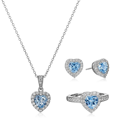 Sterling Silver Created Aquamarine and White Sapphire Halo Heart Pendant Necklace, Stud Earrings, and Ring Set by Amazon Collection