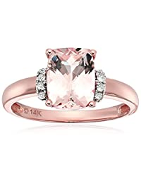 14k Rose Gold Cushion Morganite And Diamond Solitaire Engagement Ring (1/10 cttw, H-I Color, I1-I2 Clarity), Size 7