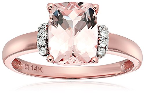 14k Rose Gold Cushion Morganite And Diamond Solitaire Eng...