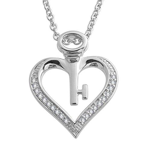 Diamond 925 Sterling Silver Key My Heart Pendant Necklace (0.08 Carat) (Silver Diamond Necklace Pave)