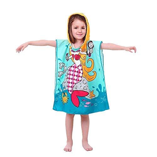 AYUQI Kids Poncho Towel for Bath Beach Swimming Hooded Towel, Kids Soft Cartoon Bathrobe Fast Drying Towel for Girls
