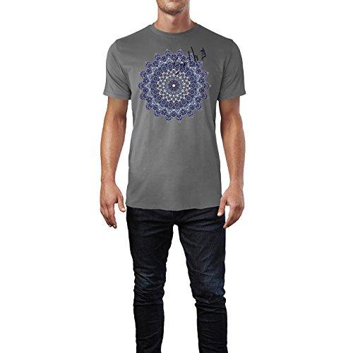 SINUS ART ® Feines detailliertes Mandala Herren T-Shirts in Grau Charocoal Fun Shirt mit tollen Aufdruck