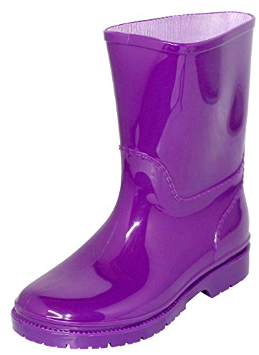Children's / Toddler's Waterproof Rain Boots, Rubber Rain Shoes Sizes 5-10 (7, Lavender)