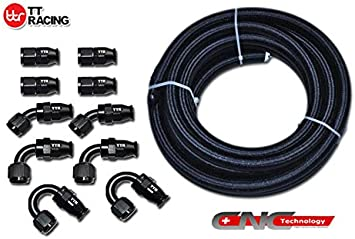 6AN Teflon PTFE E85 Fuel Line Kit 16Ft Oil Gas Line AN6 Hose End Fitting Adapter