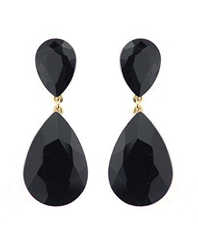 Women's Elegant Dangling Teardrop Stone Pierced Earrings, Jet Black Stone, Gold-Tone