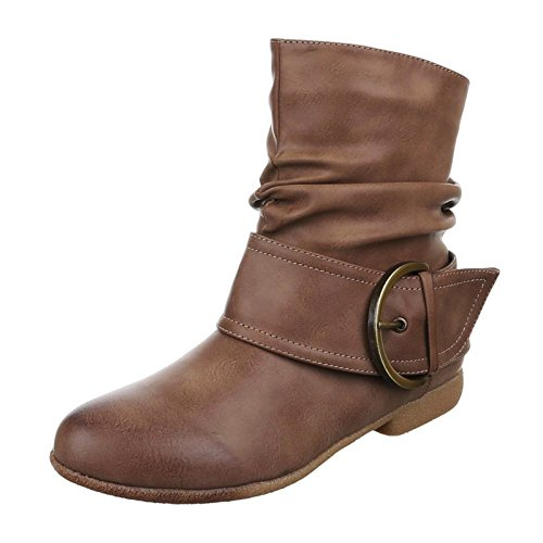 King Of Shoes Damen Stiefeletten Cowboy Western Stiefel Boots Flache Schlupfstiefel Schuhe 002 Khaki