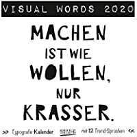 Visual Words Black 2020: Aufstellbarer Typo-Art Postkartenkalender. Jeden Monat ein neuer Spruch. Hochwertiger Tischkalender. Mit 12 Postkarten.