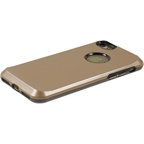 Hybridhülle für Apple iPhone 7 - brushed Case gold - Cover PhoneNatic Schutzhülle + 2 Schutzfolien