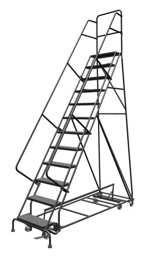 Tri-Arc KDED112246 12-Step All-Directional Steel Rolling Industrial & Warehouse Ladder with Perforated Tread, 24-Inch Wide Steps