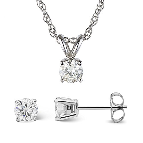 Forever Classic Round Cut 4.5mm Moissanite Earrings and Pendant Necklace Set by Charles & Colvard from Charles & Colvard
