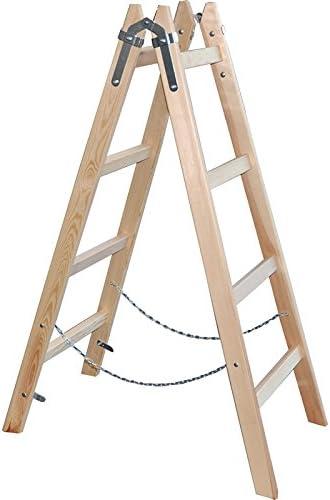 De madera de la escalera de tijera 130 cm - 4 peldaños - pintor de escalera de madera de la escalera plegable - DEWEPRO/x-Tools: Amazon.es: Bricolaje y herramientas