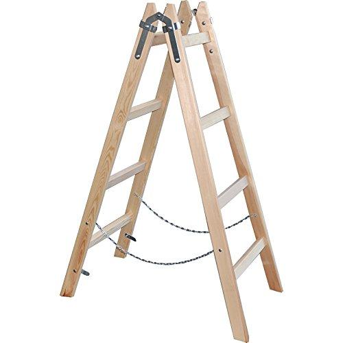Holzleiter Stehleiter 130cm - 4 Sprossen - Malerleiter Holzstehleiter - DEWEPRO/x-tools