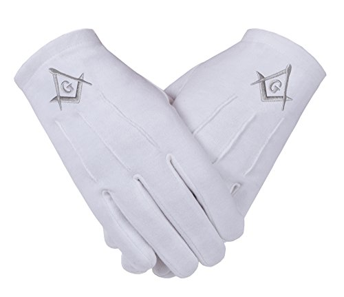 Freemasons Masonic Gloves in Cotton in Silver Embroidered Square Compass and G SC&G (L-10)