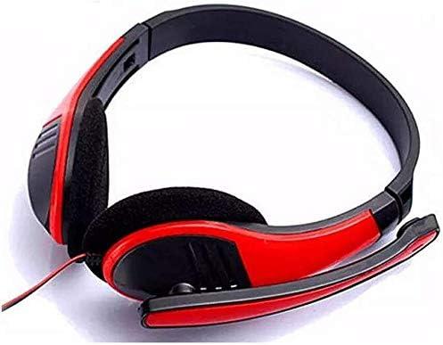 HNSYDS ヘッドセットノイズリダクションマイク付きレッドシンプルなケーブルゲームヘッドセットヘッドセット ゲーミングヘッドセット
