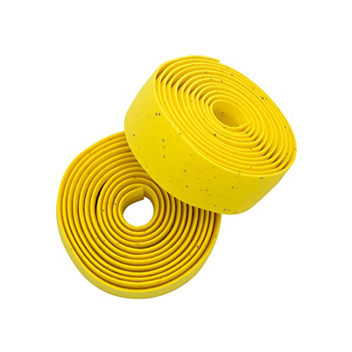 Planet Bike Comfort GEL Road Bike Handlebar Tape with Reflective Bar Plugs (Yellow - Planet Cork