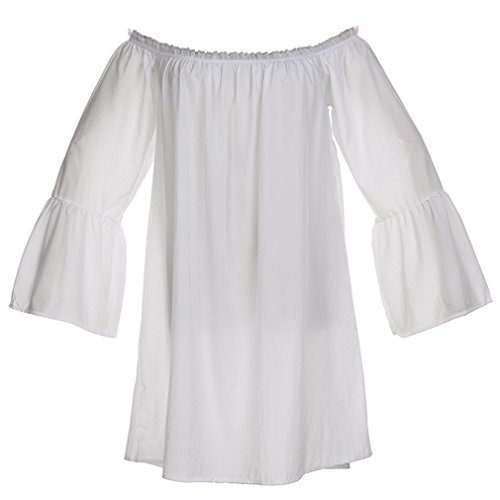 Charmian Women's Casual Ruffled Off Shoulder Long Sleeve Blouse Top Mini Dress White Small]()