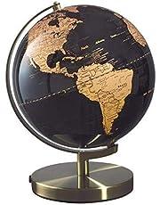 Mascagni wereldkaart koper op vloer zwart D 25 cm houder en metalen basis