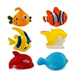 WISHKEY Chu Chu Bath Toys for Baby Aquatic Fish Animals pack of 6 Non Toxic BPA Free Plastic Toy ( Multi color )