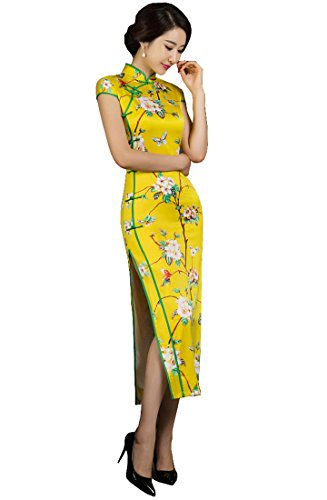 YueLian Women's Long Chinese Style Wedding Dress Qipao Cheongsam Party Dress (China L= US 4-6, 20)