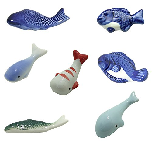 WIND 箸置き おしゃれ 陶器 7個組 野菜 猫 魚 ウサギ 箸置き おもしろ かわいい (魚)の商品画像