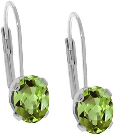 2.66 Ct Oval Green Natural Peridot Gemstone Birthstone 925 Sterling Silver Women's Earrings