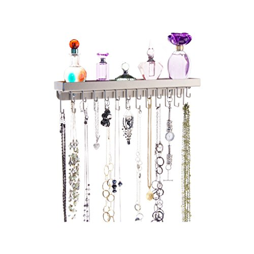 Mount Jewelry Organizer Hanging Closet Storage Rack with Shelf, Schelon Satin Nickel Silver (Nickel Hanging)