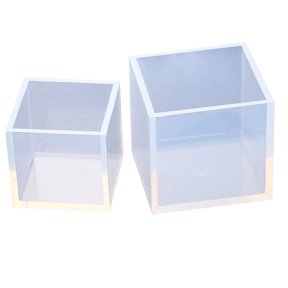 VTurboWay 2 Pack DIY Square Resin Mold Size 5cm and 4cm Cube Silicone Molds