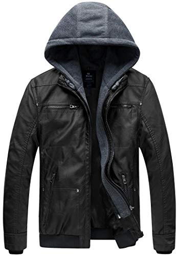 Leather Work Jacket - Wantdo Men's Leather Jacket with Removable Hood US Large Black