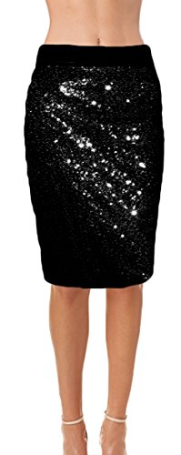 Ooh la la Womens Fully Lined Sequin Pencil Skirt with Soft Stretch Waistband (Large, (Fully Lined Pencil Skirt)
