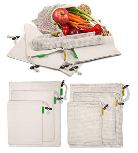 (USWAY REUSABLE PRODUCE BAGS (7-Pcs Set) Organic Mesh and Muslin Storage Eco Totes w/BONUS Swaddle Sheet | Store Fruits, Food, Greens, Vegetables | Heavy-Duty Home or Shopping Use | Compact, Portable)