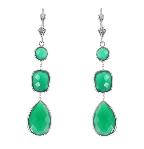 - 14k White Gold Gemstone Earrings With Dangling Green Onyx
